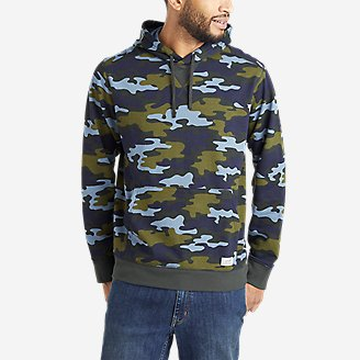 Men's Camp Fleece Pullover Hoodie - Pattern in Green