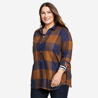 Women's Fremont Flannel Snap-Front Tunic in Brown