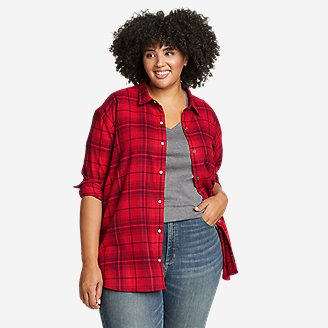 Women's Fremont Flannel Snap-Front Tunic in Red