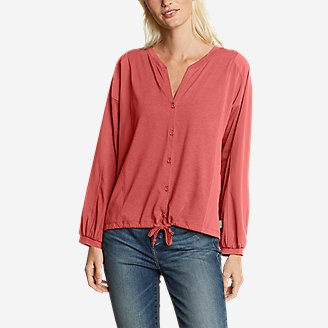 Women's Gate Check Woven-Inset Long-Sleeve Button-Front T-Shirt in Red