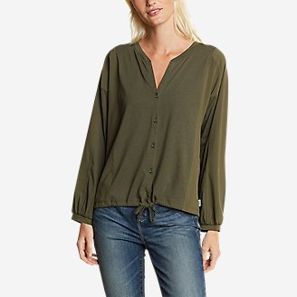 Women's Gate Check Woven-Inset Long-Sleeve Button-Front T-Shirt in Green